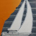 Segelboot auf T-Shirt Stoff