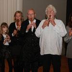 Unser Flötenchor (v. l. Martina Heyke, Isabelle Heinrich, Magdalena Horn, Eberhard Horn, Klaus Haack, Christiane Schuchardt).