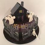 Gespenstertorte für Übernachtungsparty (Schokoladenbiskuit und Schokoladenbuttercreme)
