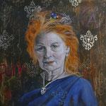 Vivianne Westwood, SOLD  60 cm x 60 cm   Acryl, mit Metallapplikationen, Öl auf HDF mit Leinwand bezogen