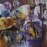 Carousel   120 cm x 100 cm   Lack, Acryl, Öl auf Leinwand