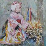Geisha II   120 cm x 100 cm, Acryl, Sumpfkalk, Metallapplikationen, Öl auf Leinwand