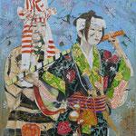 Geisha III   120 cm x 100 cm, Acryl, Sumpfkalk, Öl auf Leinwand