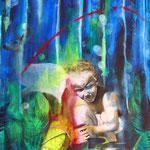 Waldgeist  120,5 cm x 95 cm    Acryl, Öl auf Verbundplatte