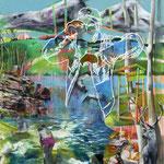 Der Wächter   140 cm x 120 cm   Acryl, Spray, Öl auf Leinwand