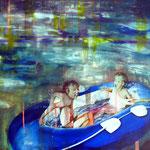 Blaues Schlauchboot 95 cm x 120,5 cm   Acryl, Öl auf Verbundplatte
