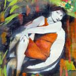 o.T. 100 cm x 100 cm Acryl, Öl, Schellack auf geschöpften Papier