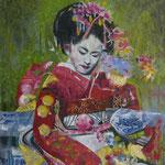 Geisha I   120 cm x 100 cm, Acryl, Sumpfkalk, Metallapplikationen, Öl auf Leinwand