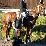 Siegerteam im Jump and Run - Jennifer Schumacher auf Aguardiente und Melinda Baulig mit Hund Luna