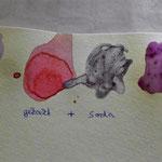 Proben der ausgekochten Pflanzenfarbstoffe auf Papier