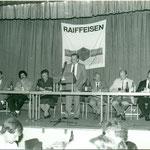 Versammlung Raiffeisenbank Balgach. Vorsitz Joseph Hollenstein. Archiv V. Hürlimann