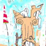 """Ilustración para la Imagen del Certamen de Poesia infantil y Juvenil """"Bibliotecas Municipales"""" Málaga 1996"""
