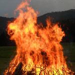 Ich sehe ein Pferd in den Flammen