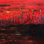 Red City Lights 140 x 120