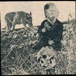 © Natalie Huth, schädelmannhammerhund (skullguyhammerhound), analog collage, 2018