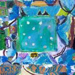 Map 22cmx22cm oil on canvas