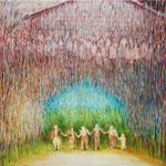 「遠い歌 近い声」194cmx259cm  oil on canvas