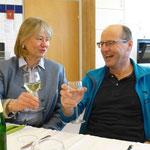 """Schulwart Franz Gschaider (mit Getränk) :Endlich auch ein Glaserl...""""Wasser""""... in der Fastenzeit...selbstverständlich!"""