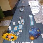 Planeten und ihre Monde (...mit Kieselsteinchen als Monde zum Zuordnen zu den Planeten!) Die Entfernung wird durch dieses Spiel auch begreifbar.