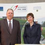 Fr. Mag. Dir. Mikovits und Hr. Ing. Alfred Braunsteiner Präsident des Lions Club Wien Hofburg bei der Scheckübergabe