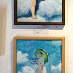 2点の模写画で参加させて頂きました。《アモールとプシュケ》ウィリアム・アドルフ・ブグロー  《日傘の女》クロード・モネ    F4号/油彩
