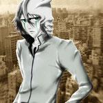 アニメ「BLEACH/by久保帯人氏」に登場するキャラの一人、ウルキオラ。  グリーンな瞳、無表情でいて儚げなクールさがシブィの♪  バックは東京ドームホテルの窓から撮影した写真。  背景にしてみました☆/2008年