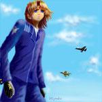 作家、森博嗣氏の小説「スカイ・クロラ」を拝読して 心に残ったシーンをイメージし描きました。/2004年