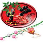 おせち料理/黒豆…「まめ」は丈夫・健康を意味する言葉 /昆布巻…「よろこぶ」の言葉にかけて喜びごと多き年でありますように. 海老…長いひげをはやし腰が曲がるまで長寿を願って. 祝い箸…両端が細くなっているのは片方は年神様が使うとされているため /柳の箸
