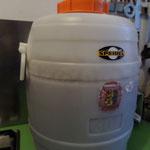 fermentation finie: remarquez le dépôt sur le fermenteur