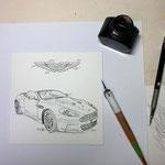 Aston Martin DB8 Zeichnung in Tusche