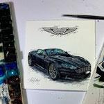 Aston Martin Zeichnung mit Gouachefarben koloriert