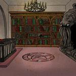 Illustration pour un livre-jeu (Piégé à Arkham - éd. Larousse)