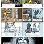 """Planche pour une BD collective """"Moto et handicap"""" avec la Mutuelle des Motards (extrait)"""