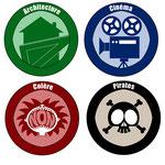 Logos de mallettes thématiques de livres conçues par le Centre Paris Lecture