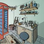 Illustration pour un livre-jeu (Le Savant fou - éd. Larousse)