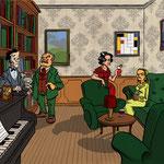 Illustration pour un livre-jeu (Meurtre au manoir - éd. Larousse)