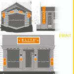 Réalisation d'illustrations pour présenter les différents emplacements possible des enseignes pour la marque ELITE HAIR INTERNATIONAL