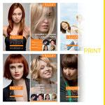Propositions de mise en page de la couverture du catalogue pour le péruquier ELITE HAIR INTERNATIONAL