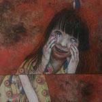 「才能の無い芸術家の運命」タテ150㎝×ヨコ50㎝ ベニヤ板に胡粉、墨、水干、岩絵の具、アクリル絵の具