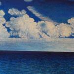 Schönwetterwolken (115x120 cm,  Acryl Mischtechnik)