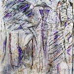 Dame mit Hut (80x70 cm, Acryl Mischtechnik /Papier) verkauft