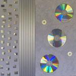 Discotime (50x50 cm, Acryl/Metall/CD's)