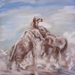 129 - Bagarre d'éléphants - pastels mai 2018 - encadré dimensions 50x65