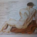 28 - Dos d'homme allongé sur le canapé - pastels 2013 - dimensions 50x65 - non encadré