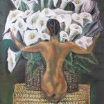 113 - le bouquet d'aromes - pastels 2017 - dimensions 50x65 - non encadré - d'après une oeuvre de Diego Rivera