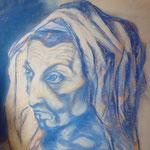 138 - vieille femme au visage décharné - pastels novembre 2018