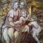 167 - Sainte Anne, la Vierge et l'enfant et Saint Jean Baptiste d'après une œuvre de Léonard de Vinci - octobre 2020 - dimensions 50x65 - non encadré