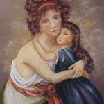 154 - la mère et sa fille - novembre 2019 - inspiré d'une oeuvre de jacques Louis David néo classicisme - dimensions 50x60 - papier mi teintes