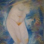 165 - nu de femme (fond multicolore) août 2020 - dimensions 40x50 non encadré