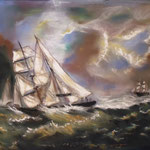 85 - voiliers en péril - pastels 2016 - VENDU